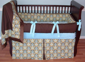 Brown & Blue Glam Crib Bedding