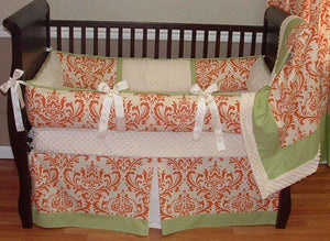 Cream & Orange | Damask Harper Crib Bedding