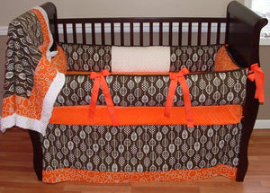 Orange & Brown | Organic Hawaiian Leaf Crib Bedding
