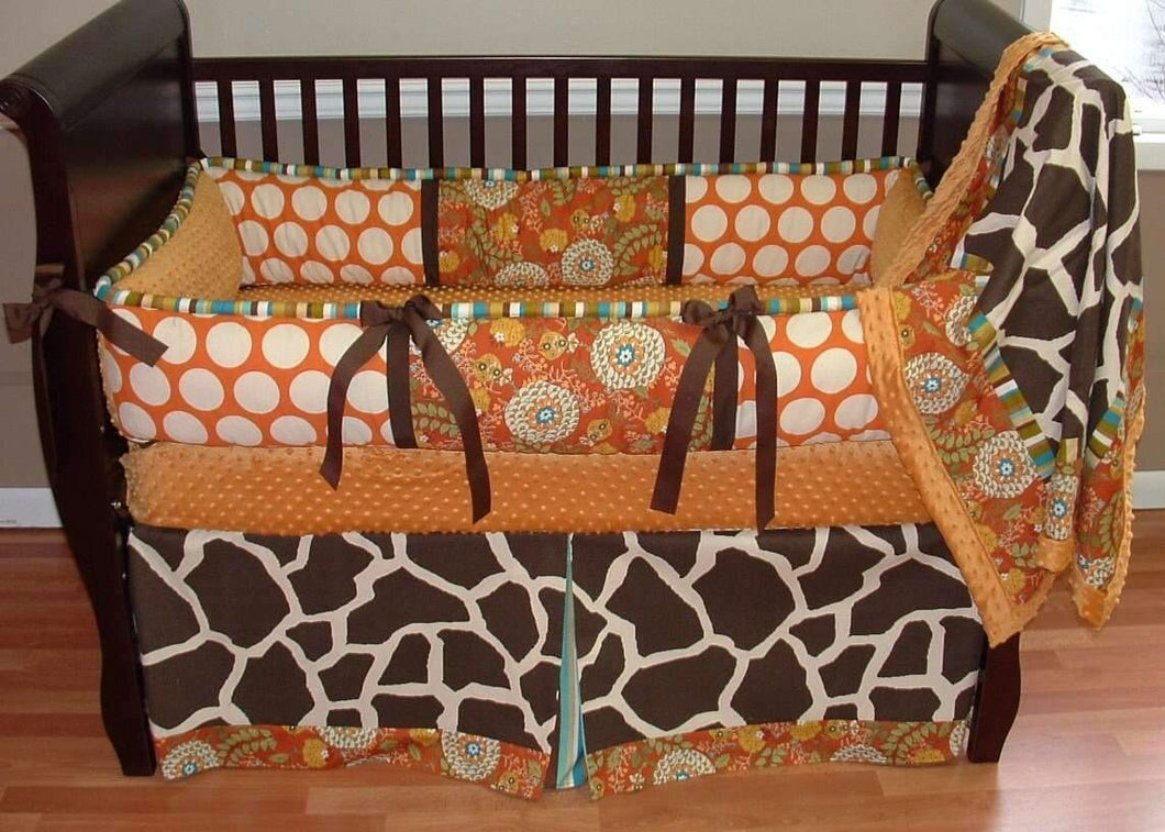 Orange, Brown & Cream | Giraffe & Polka Dots Henna Crib Bedding