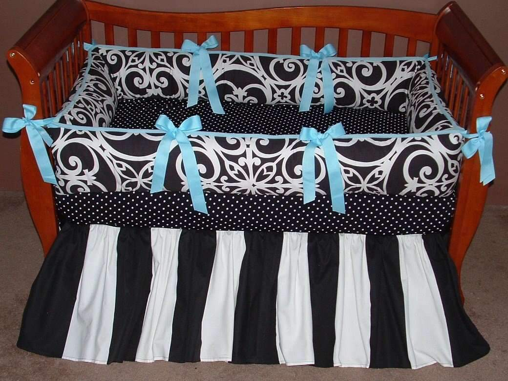 Blue & Black Highland Blue crib set