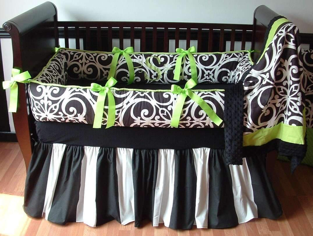 Lime Green, Black & White | Highland Crib Bedding