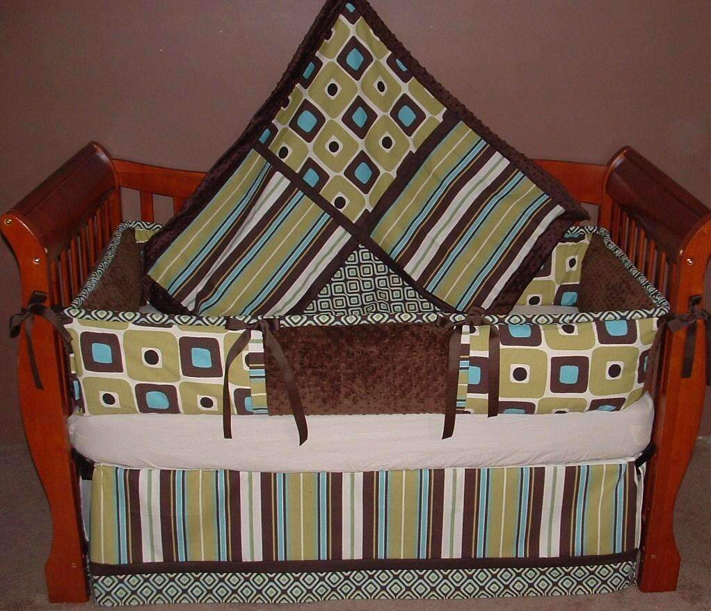 Green & Brown Illusions Crib Bedding