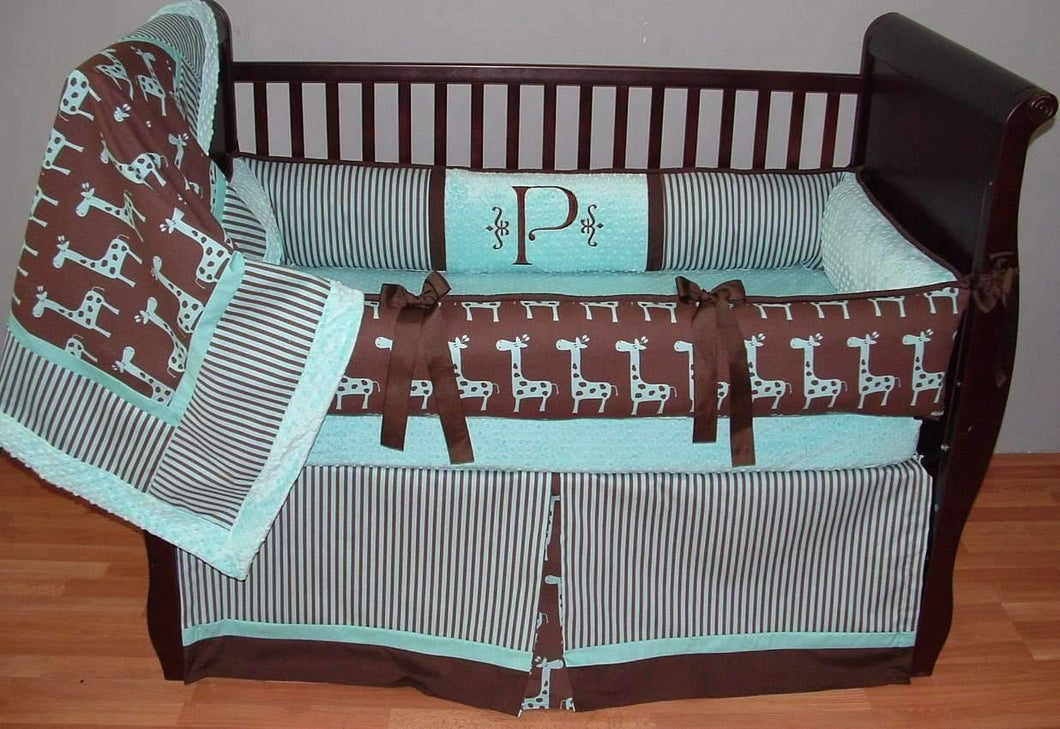 Aqua & Brown | Stripes & Giraffes Jackson Crib Bedding