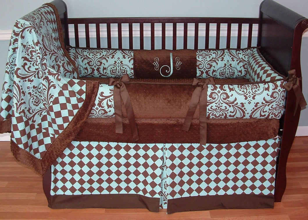 Aqua & Brown | Damask & Diamonds Jacob Crib Bedding