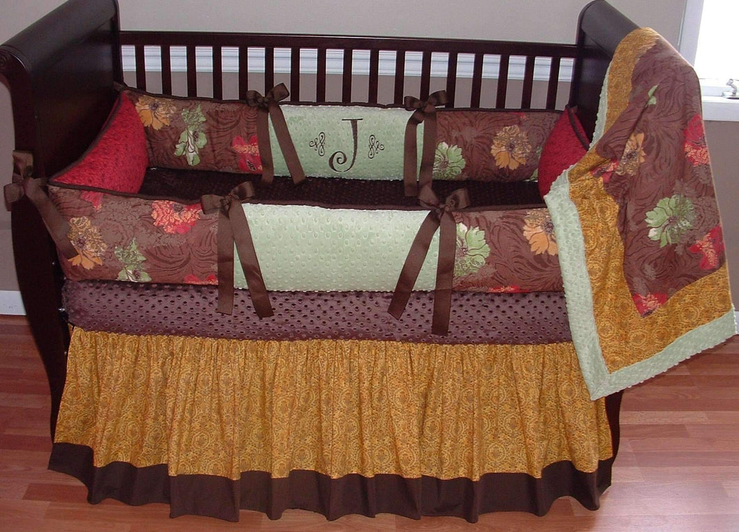 Brown & Green Jamison Crib Bedding