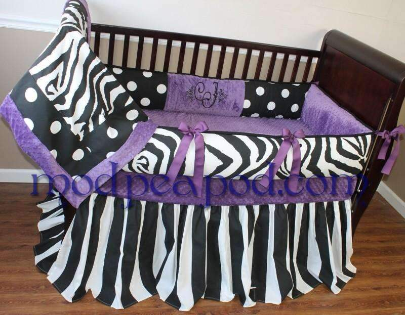 Purple, Black & White | Polka Dots & Zebra Jase Crib Bedding