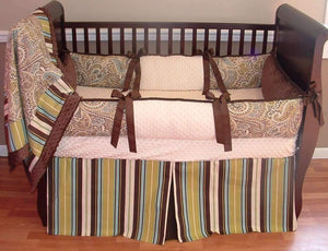 Cream & Brown | Paisley & Stripes Jayden Crib Bedding