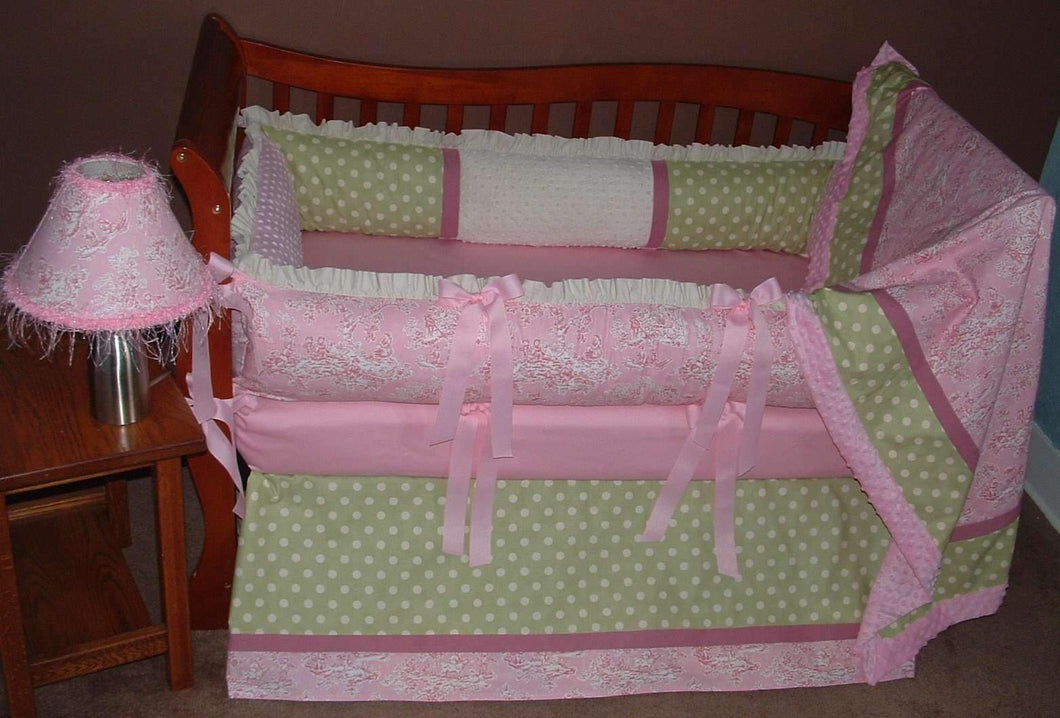 Pink & Green | Just Us Kids Toile Crib Bedding