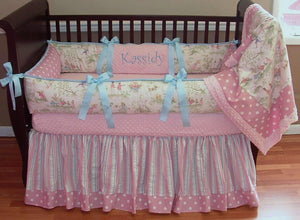 Pink & Cream Kassidy Toile Crib Bedding