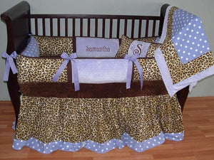 Purple & Leopard Kay Crib Bedding