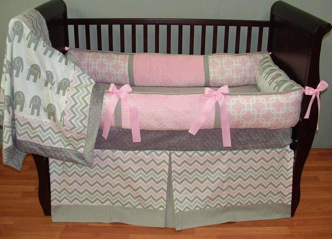 Pink & Grey | Elephants & Chevron Kaylee Crib Bedding