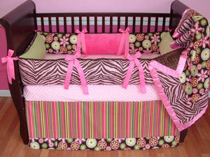Pink & Brown | Floral & Stripes Kennedy Tailored Crib Bedding