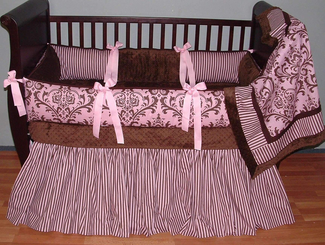 Pink & Brown Korrin Crib Bedding