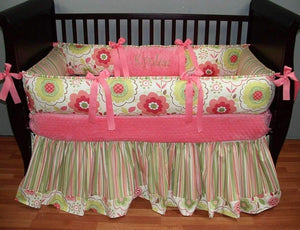 Cream, Coral & Lime Green | Floral Kynlee Crib Bedding