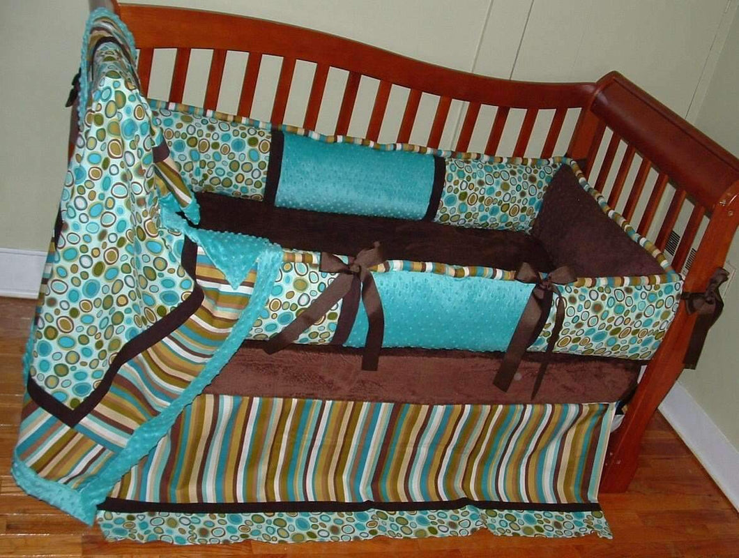 Teal & Brown Lagoon Crib Bedding