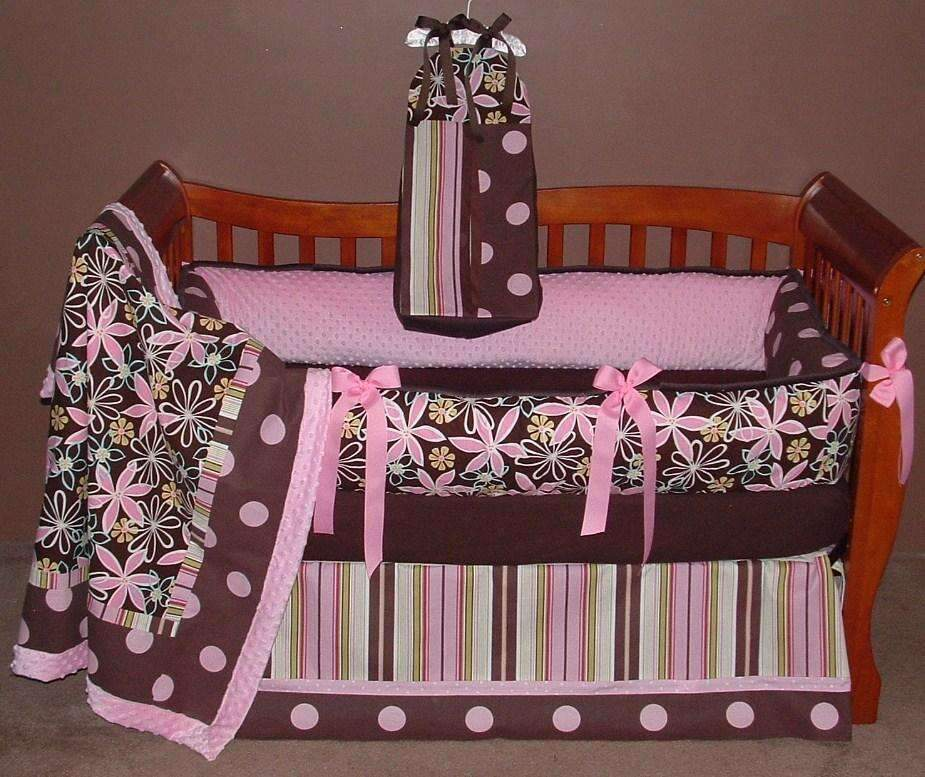 Pink & Brown | Laura Daisy Dream Crib Bedding