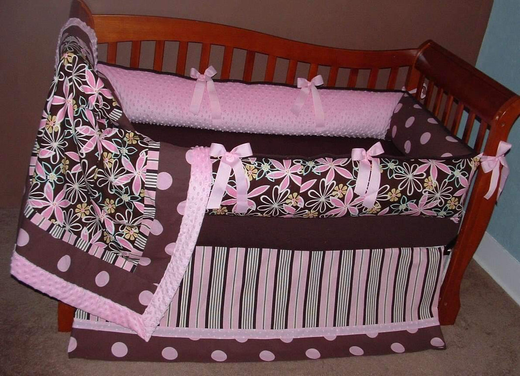 Laura's Daisy Dream with Ticking Stripe Crib Bedding