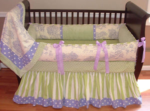 Lavender Toile Crib Bedding