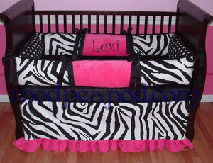 White & Black Lexi Zebra Crib Bedding