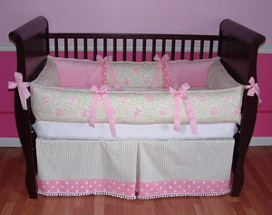 Pink & Green Lilly Toile Crib Bedding