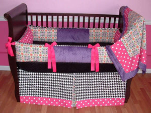 Purple & Pink | Fractal & Polka Dots Linley Crib Bedding