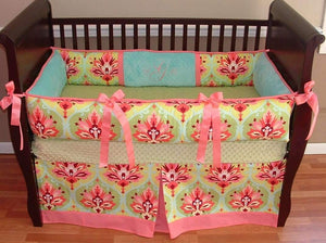 Coral, Lime Green & Blue Lovely Vanessa Crib Bedding
