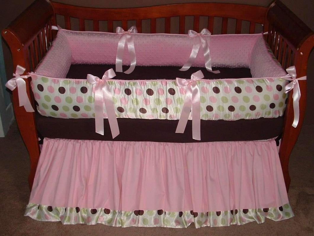Pink & Brown Luxe Satin Crib Bedding