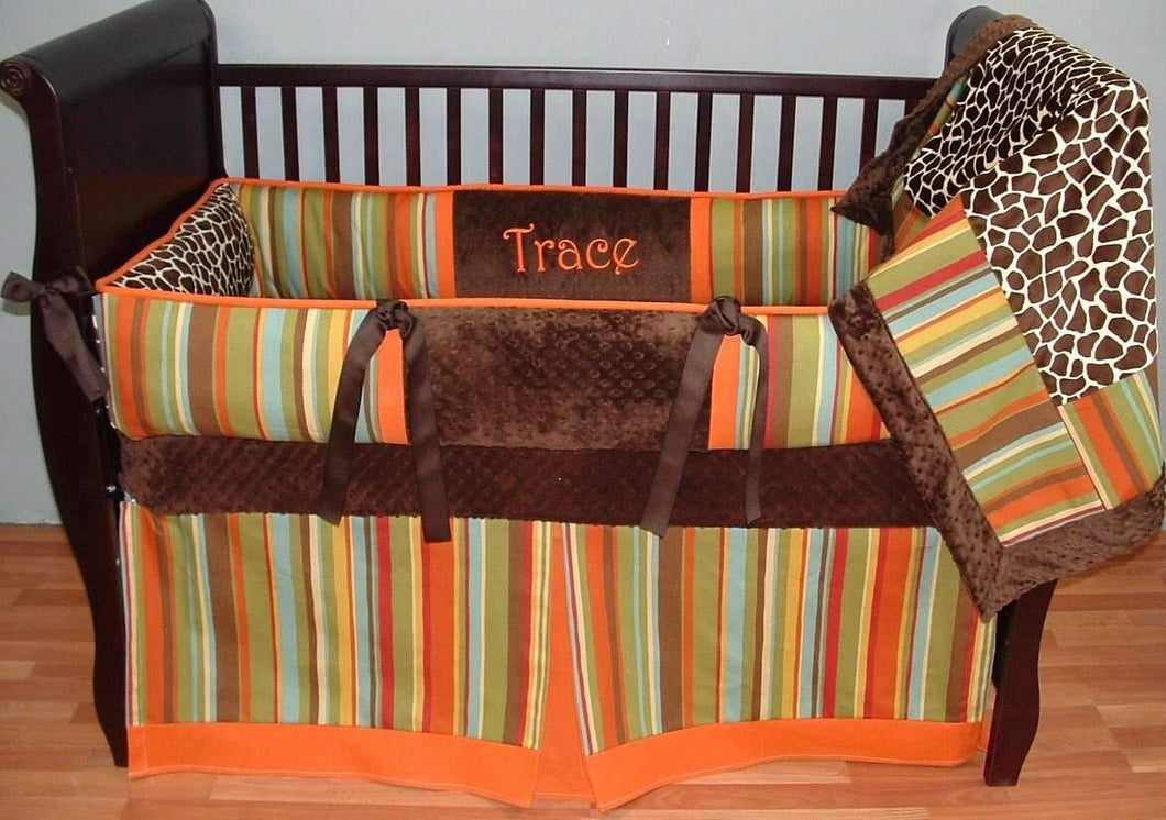 Orange, Brown & Leopard Madagascar Crib Bedding