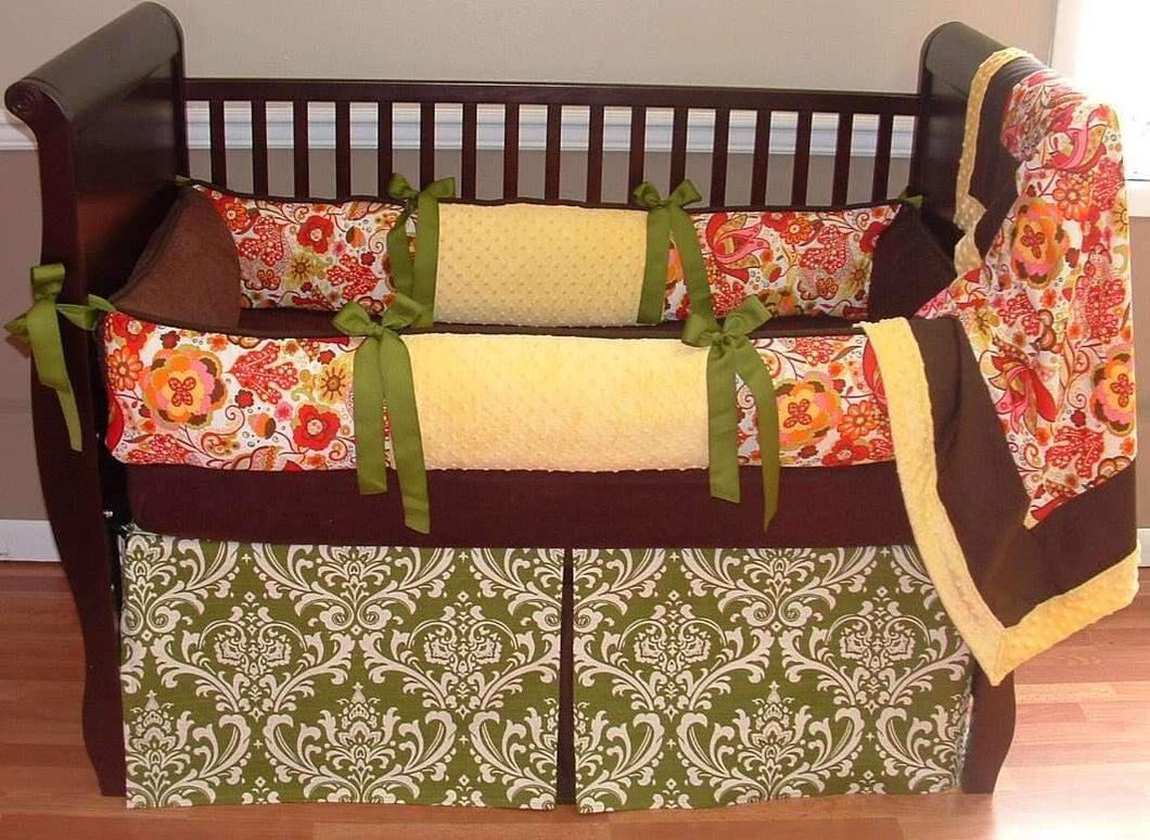 Coral, Cream & Green | Floral & Damask Mirabelle Crib Bedding