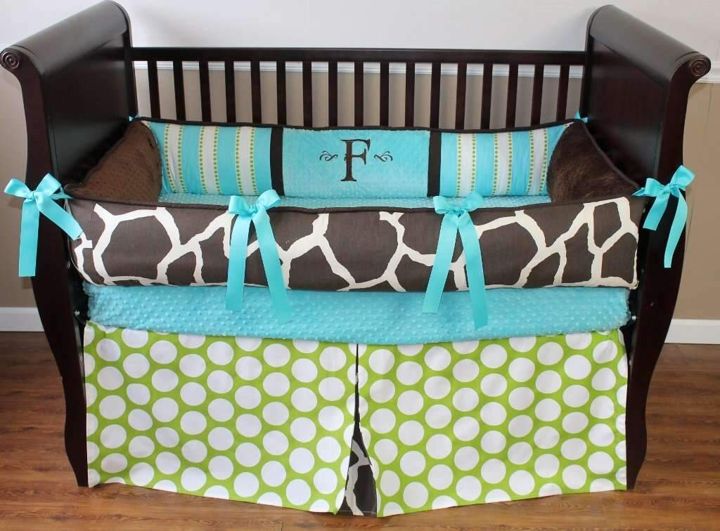 Aqua, Lime Green & Brown | Moda Giraffe Crib Bedding
