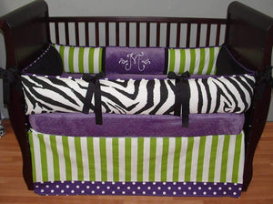 Purple & Green | Stripes Polka dots & Zebra Murphy Crib Bedding