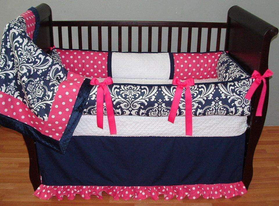 Navy Girl Crib Bedding