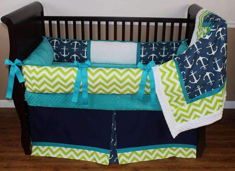 Navy Nautical Crib Bedding