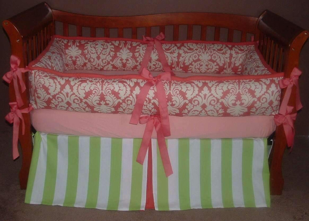 Orange Damask Crib Bedding