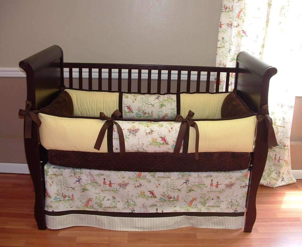 Yellow, Brown & Cream | Over the Moon Toile Crib Bedding