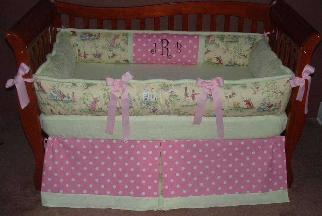 Over the Moon Toile Pink Crib Bedding