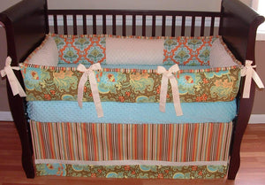 Green & Red Orange | Floral & Stripes Oxford Crib Bedding
