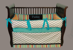 Teal, Grey & White | Chevron & Stripes Paxton Crib Bedding