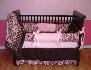 Pink and Chocolate Damask Crib Bedding
