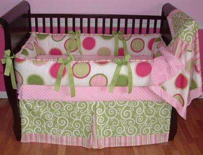 Pink & Green Twister Crib Bedding