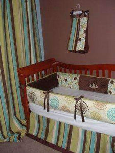 Green, Brown & Blue | Pinwheel Crib Bedding