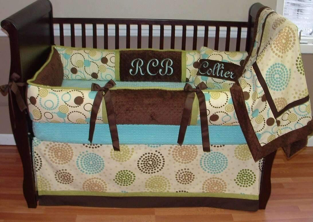 Pinwheel Green Crib Bedding~Almost sold out