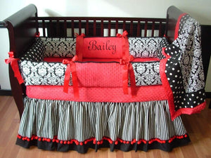 Red & Black Damask Crib Bedding