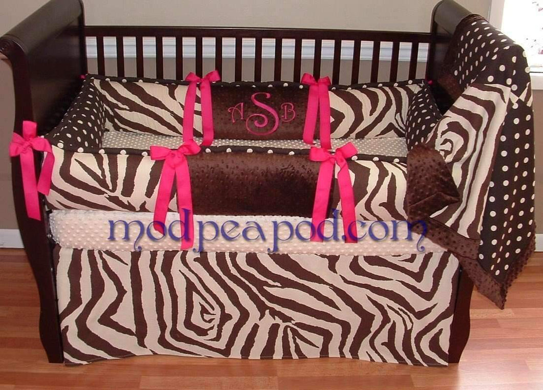 White & Black | Zebra & Polka Dots Riley Crib Bedding