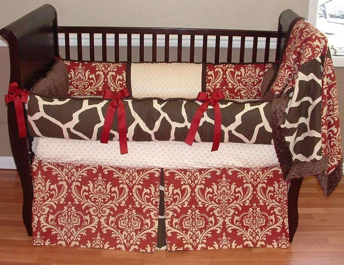 Sweet Cherry Giraffe Crib Bedding