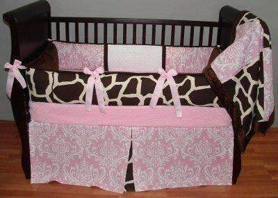 Brown, Pink & White | Damask & Giraffe Sweet Cotton Candy Crib Bedding
