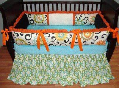 Teagan Orange Crib Bedding