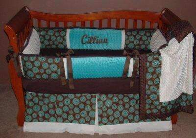 Teal Surf Crib Bedding