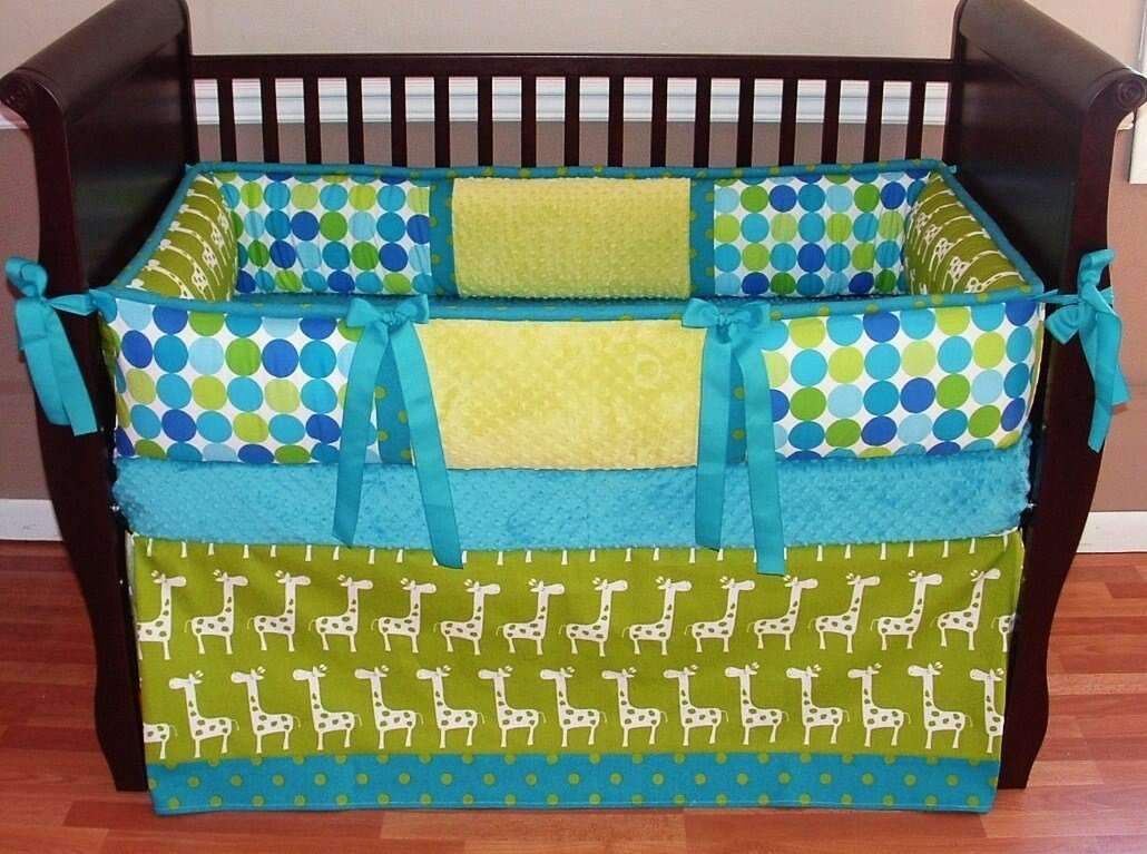 Teal & Green | Circles & Giraffes Trent Crib Bedding